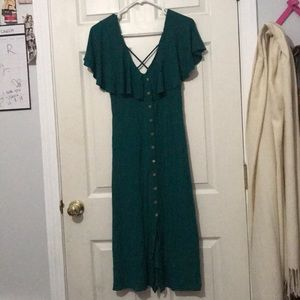 Elephant sleeves buttons down dress